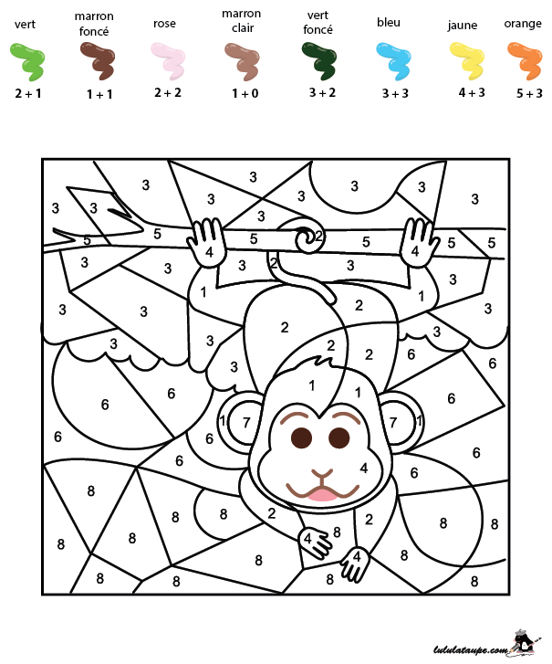 Coloriage codé gratuit, les additions