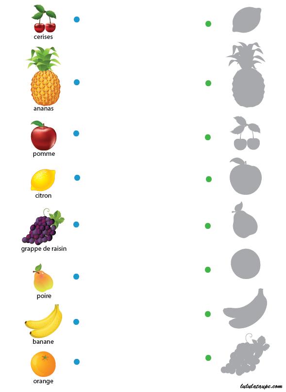 Jeu des ombres, les fruits - Lulu la taupe, jeux gratuits pour enfants