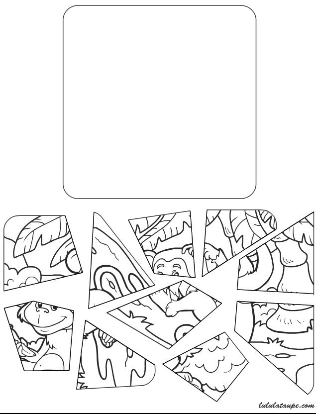 Puzzle 10 pi ces imprimer un singe lulu la taupe for Puzzle a colorier gratuit