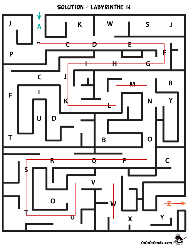 Solution, labyrinthe alphabet