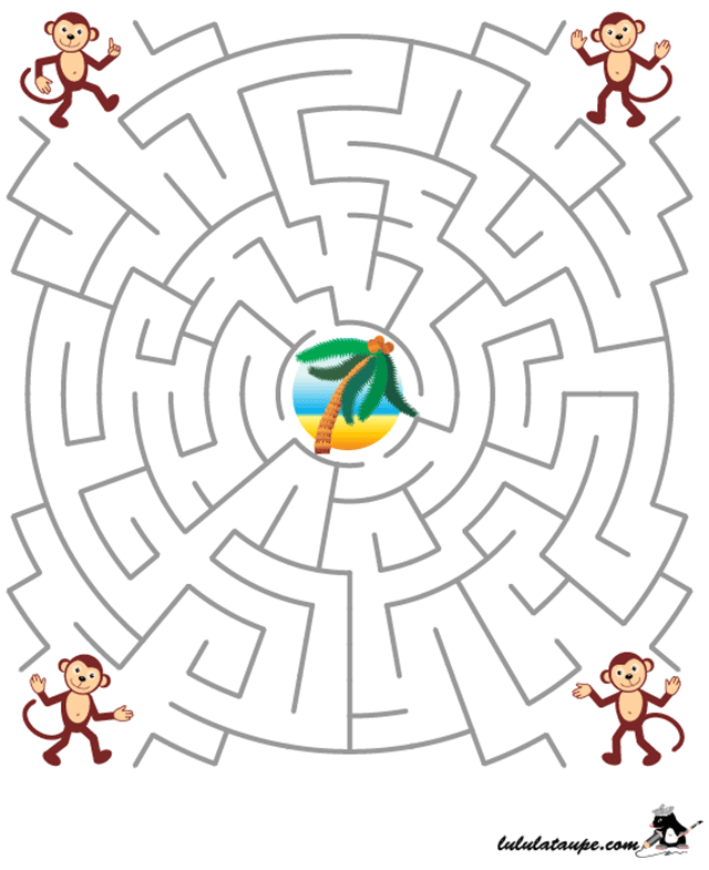 Jeu de labyrinthe, les singes et le cocotier - Lulu la taupe, jeux gratuits pour enfants