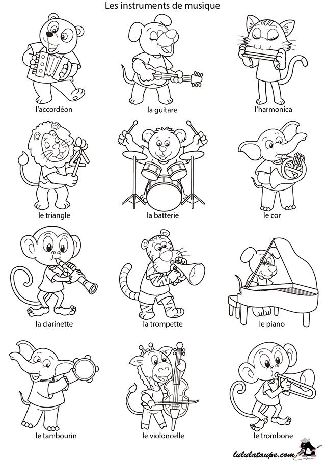 Coloriage les instruments de musique lulu la taupe jeux gratuits pour enfants - Image instrument de musique a colorier ...