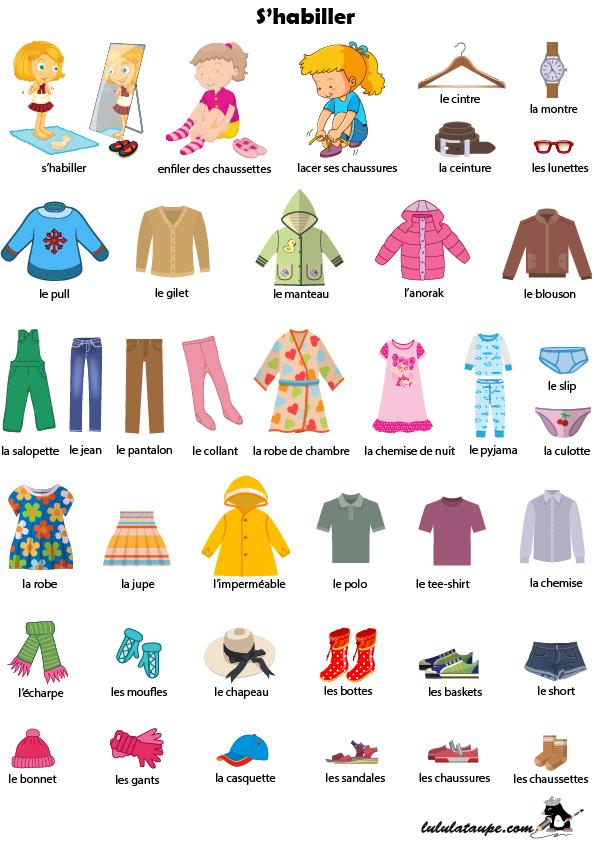 Imagier à imprimer   s habiller, les vêtements - Lulu la taupe, jeux ... a025aa7e6300