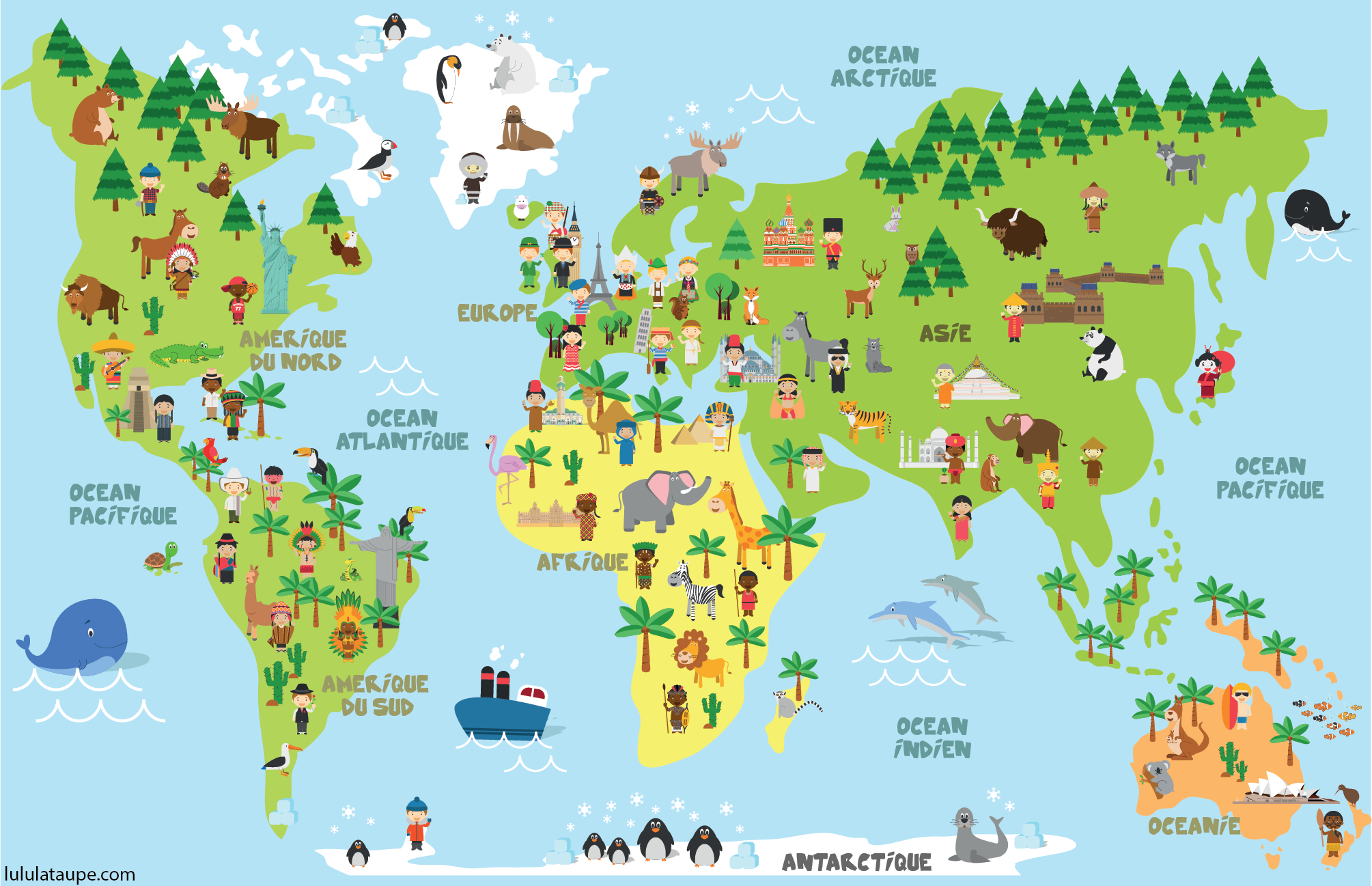 Carte Du Monde Dessin Simple.Carte Du Monde Animaux Monuments Et Enfants Des Differents