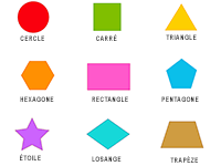 Figures géométriques : cercle, carré, triangle, hexagone, rectangle, pentagone, étoile, losange, trapèze
