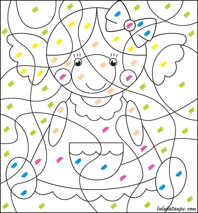 Coloriage magique pour les tout petits lulu la taupe - Coloriage a code ...