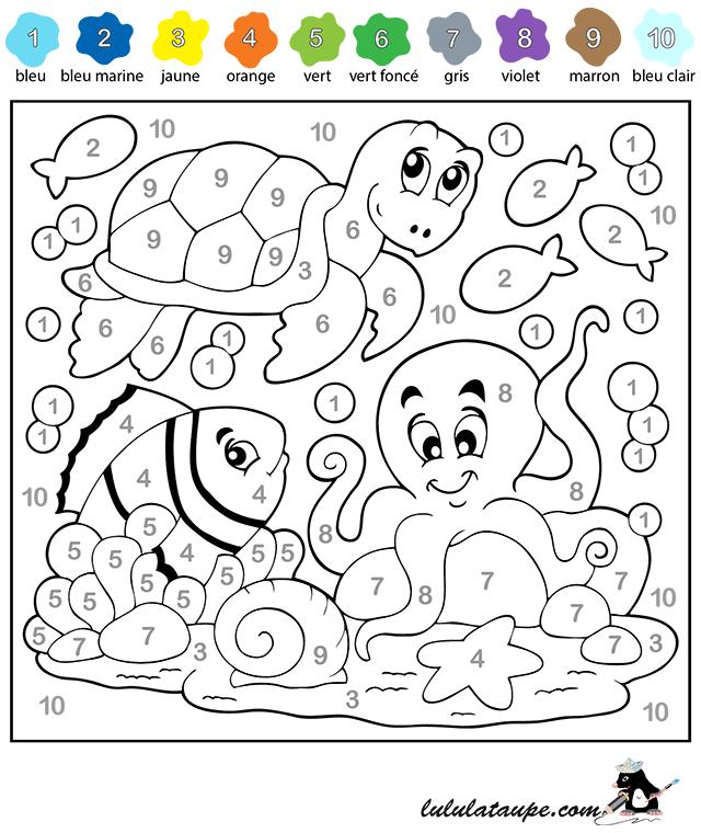 Coloriage magique les nombres de 1 10 lulu la taupe jeux gratuits pour enfants - Dessin de chiffre ...