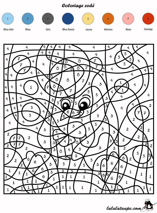 Coloriage codé, les chiffres - un pingouin - Lulu la taupe, jeux gratuits pour enfants