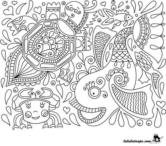Coloriage Adulte A Imprimer Abstrait.Dessin Abstrait A Colorier Un Fond Marin Lulu La Taupe
