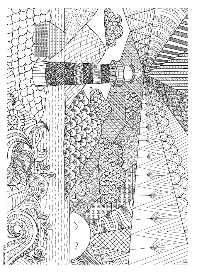 Coloriage abstrait le phare lulu la taupe jeux - Dessin de phare ...