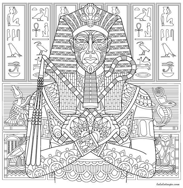Coloriage un pharaon gyptien lulu la taupe jeux - Coloriage virtuel ...