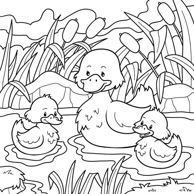Coloriage un canard et ses canetons lulu la taupe jeux - Image canard a imprimer ...