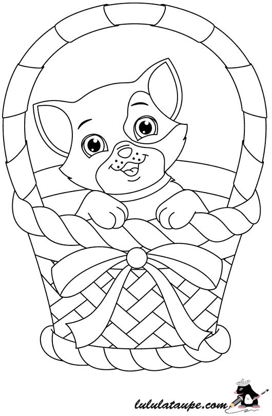 coloriage gratuit un chaton dans un panier lulu la taupe jeux gratuits pour enfants. Black Bedroom Furniture Sets. Home Design Ideas