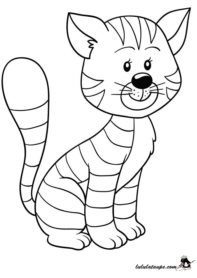Coloriage un chat assis lulu la taupe jeux gratuits - Dessin chat assis ...