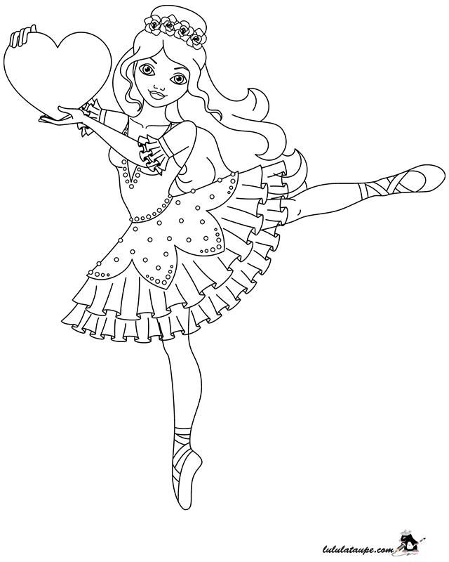 Coloriage Danseuse Avec Un Cœur Lulu La Taupe Jeux Gratuits Pour