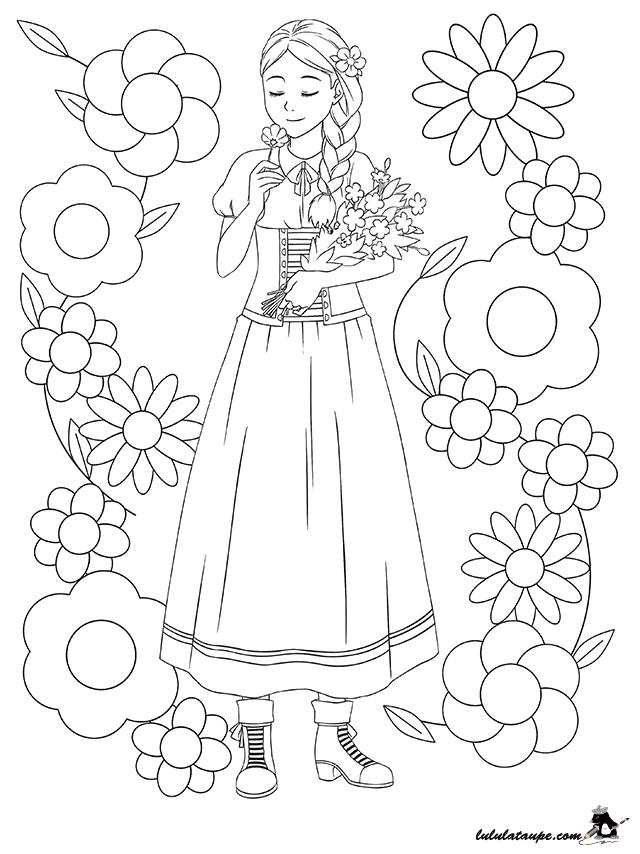 Coloriage fille avec une natte lulu la taupe jeux - Coloriage a imprimer pour fille ...