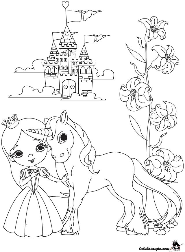 Coloriage A Imprimer Une Princesse Et Un Chateau Lulu La Taupe