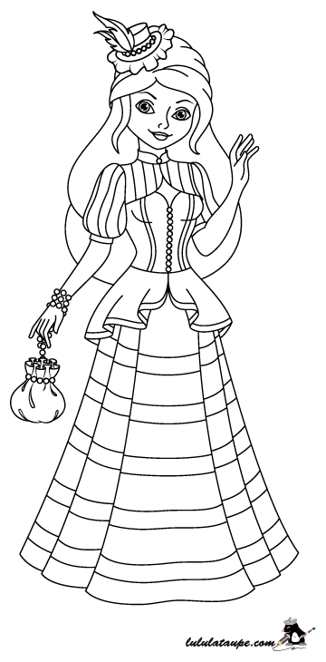 Coloriage une princesse en robe longue chapeau et bourse - Dessin de robe de princesse ...