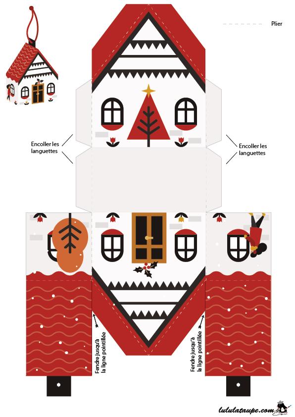 Bo te de no l en forme de maison d couper lulu la taupe jeux gratuits pour enfants - Patron de maison en papier a imprimer ...