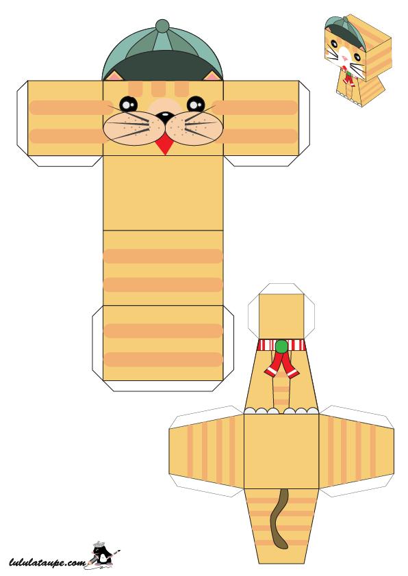 Paper Toy Chat 3d à Découper Lulu La Taupe Jeux Gratuits