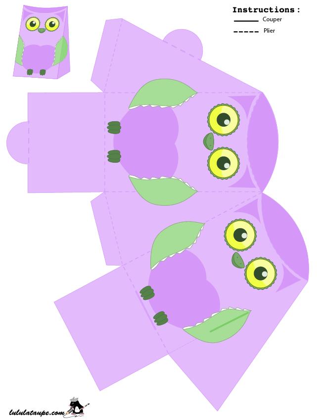 Petite bo te en forme de hibou d couper lulu la taupe - Boite a imprimer et decouper ...