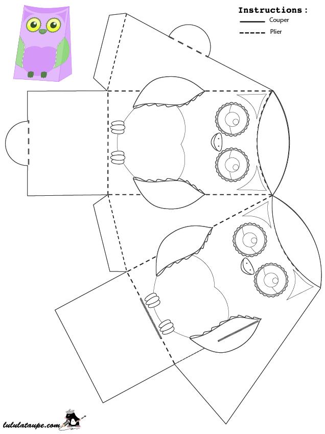 Bo te en forme de hibou colorier et d couper lulu la taupe jeux gratuits pour enfants - Decoupage collage a imprimer ...