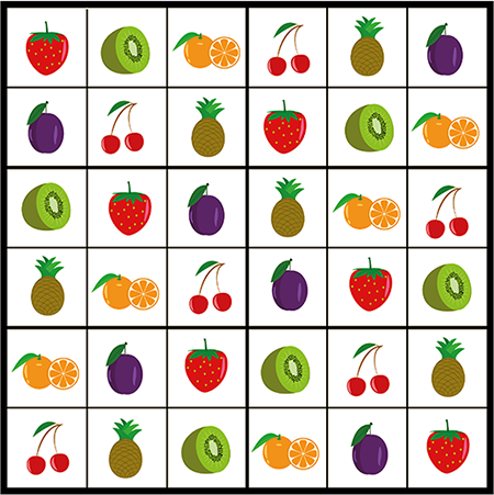 Solution jeu de sudoku, les fruits