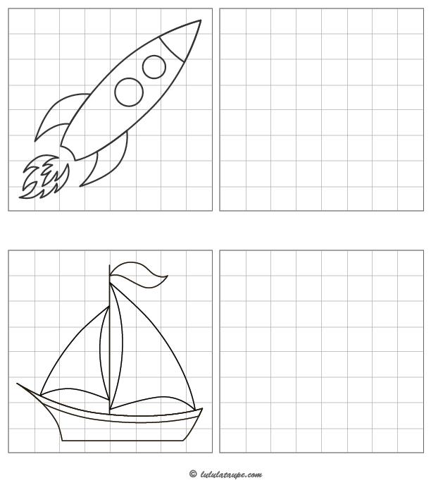 dessiner une fus u00e9e et un voilier sur quadrillage