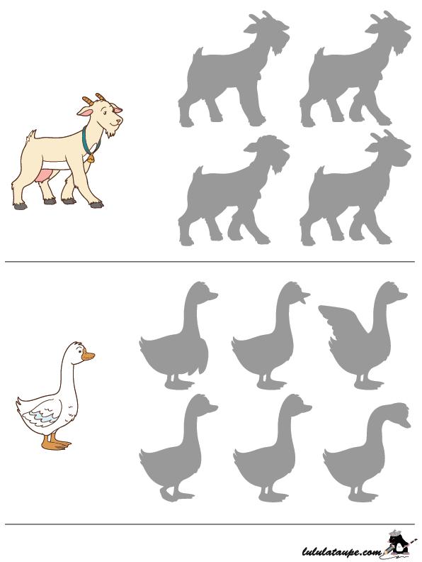 Jeu des ombres, la chèvre et l\'oie - Lulu la taupe, jeux gratuits ...