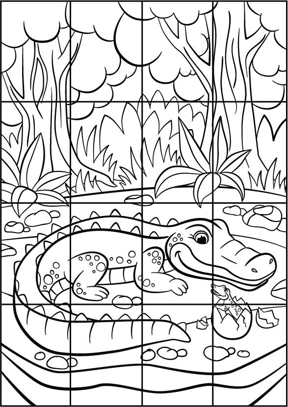 Puzzle A Imprimer Et A Decouper Un Crocodile Lulu La Taupe Jeux Gratuits Pour Enfants