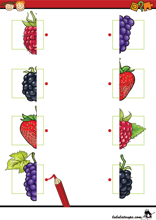 Associer les moitiés de fruits - Lulu la taupe, jeux gratuits pour enfants