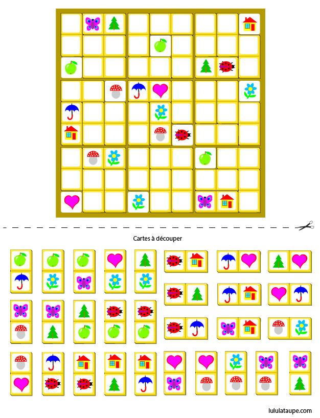 Sudoku pour enfants à imprimer - Lulu la taupe, jeux gratuits pour enfants
