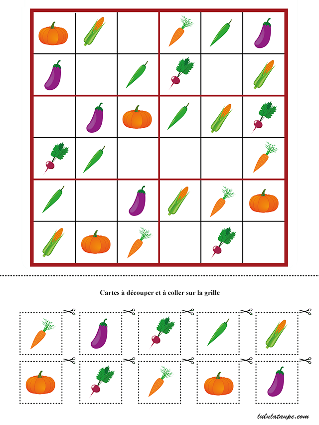 Jeu de sudoku à imprimer, les légumes - Lulu la taupe, jeux gratuits pour enfants