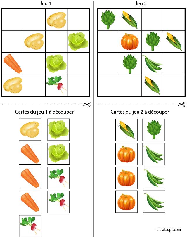 Sudoku à imprimer, les légumes - Lulu la taupe, jeux ...