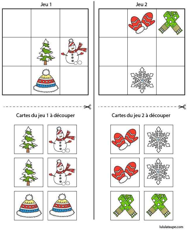 Sudoku facile avec images d 39 hiver imprimer lulu la - Decoupage collage a imprimer ...