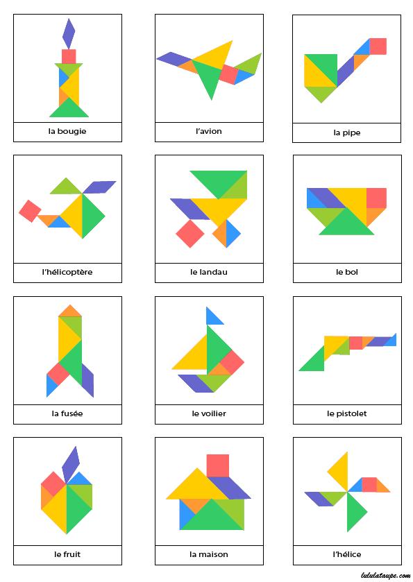 Modèles d'objets pour jeu tangram à imprimer en couleur ...