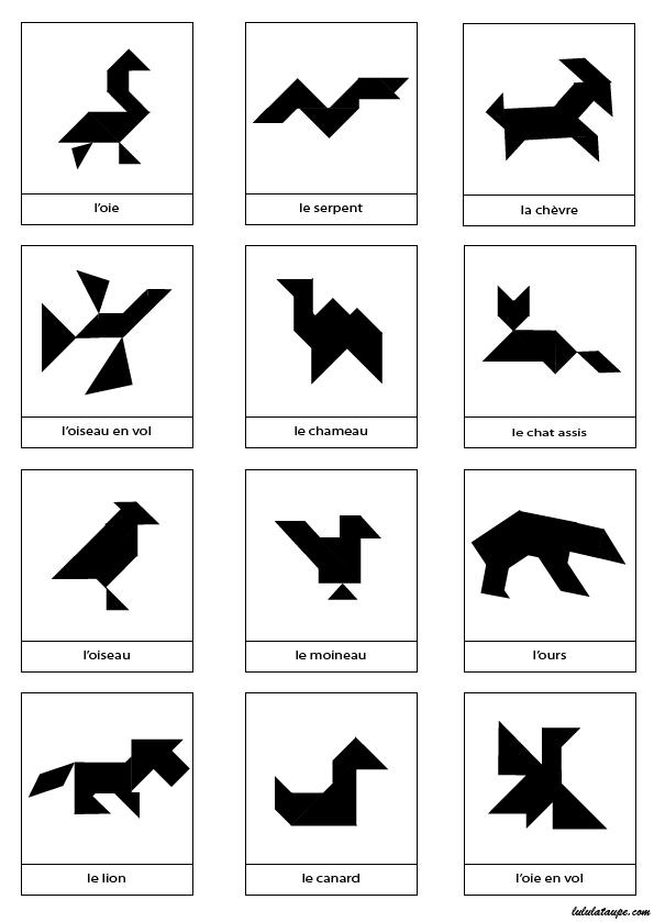 Top Silhouettes d'animaux pour tangram (2) - Lulu la taupe, jeux  JO97