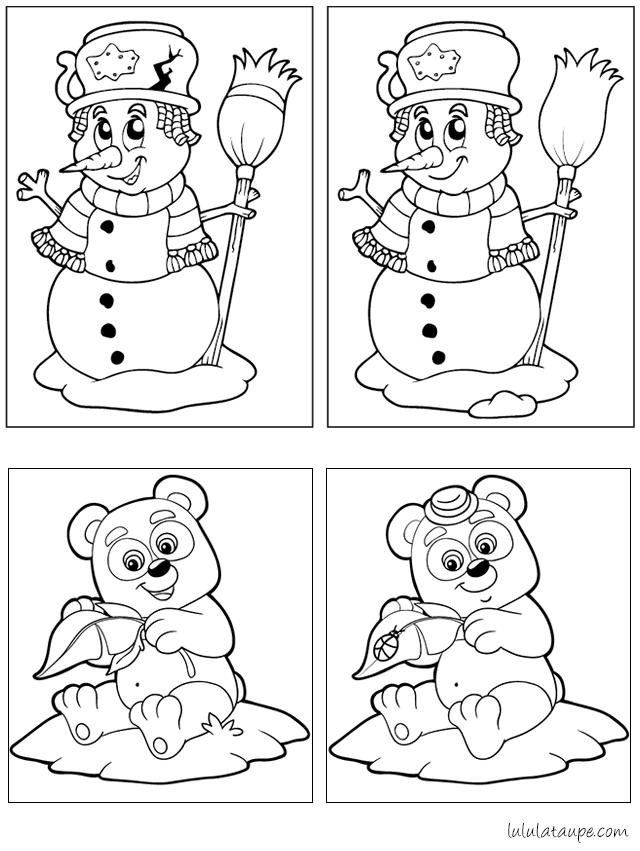 Deux jeux des 7 erreurs à imprimer - Lulu la taupe, jeux gratuits pour enfants