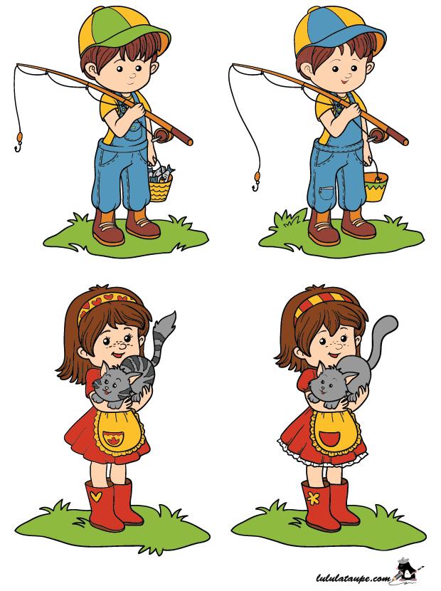 Jeux des différences, les enfants - Lulu la taupe, jeux gratuits pour enfants