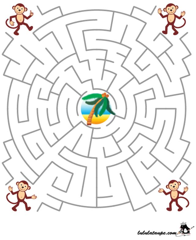 Jeu de labyrinthe les singes et le cocotier lulu la taupe jeux gratuits pour enfants - Jeu labyrinthe a imprimer ...