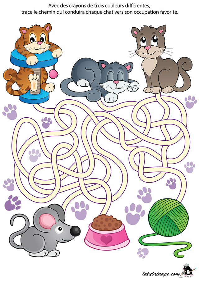 labyrinthe gratuit en couleurs les chats lulu la taupe jeux gratuits pour enfants. Black Bedroom Furniture Sets. Home Design Ideas