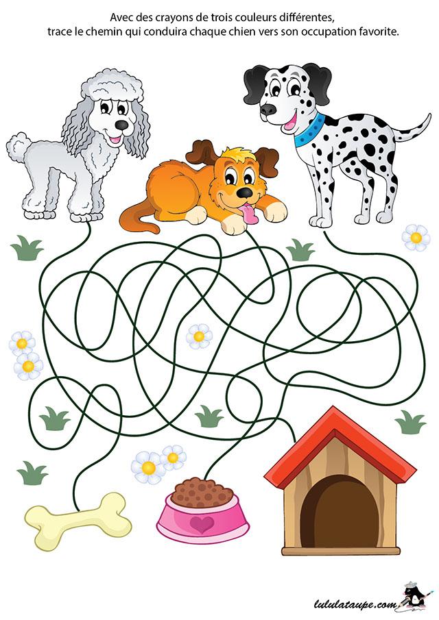 labyrinthe imprimer en couleurs les chiens lulu la taupe jeux gratuits pour enfants. Black Bedroom Furniture Sets. Home Design Ideas