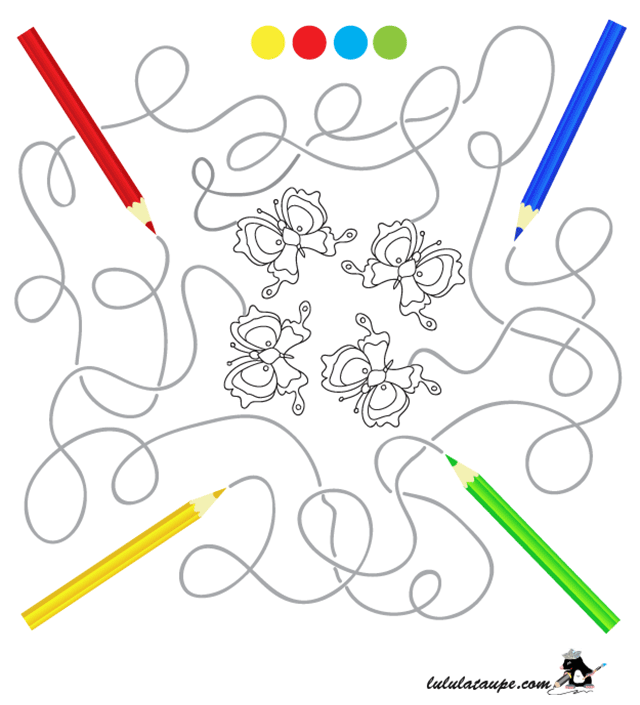 Labyrinthe gratuit à imprimer - Lulu la taupe, jeux gratuits pour enfants