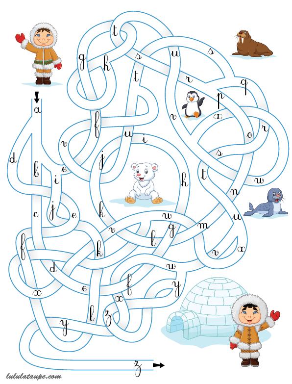 Labyrinthe alphabétique à imprimer - Lulu la taupe, jeux gratuits pour enfants