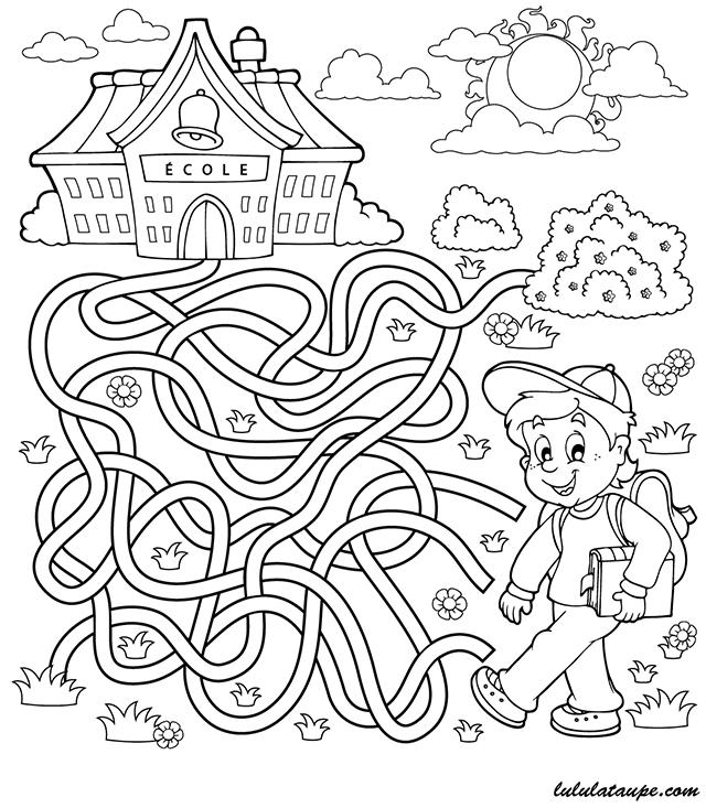 Labyrinthe imprimer le chemin de l 39 cole lulu la - Jeux labyrinthe a imprimer ...
