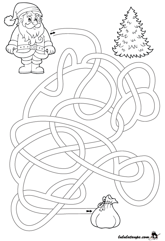 Labyrinthe de no l imprimer lulu la taupe jeux gratuits pour enfants - Jeu labyrinthe a imprimer ...