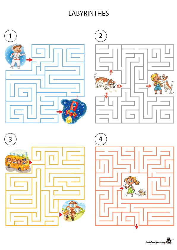 Quatre labyrinthes avec solutions - Lulu la taupe, jeux gratuits pour enfants