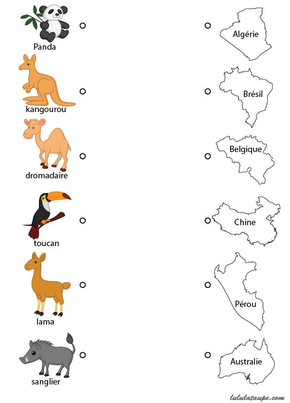 Relier chaque animal son pays d 39 origine lulu la taupe for Rehausseur 3 ans et plus