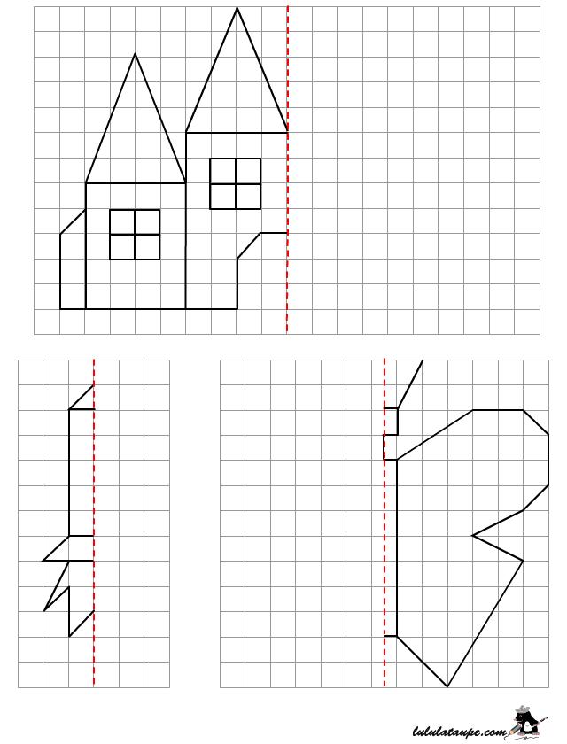 Symétrie Sur Quadrillage Dessin à Reproduire Lulu La