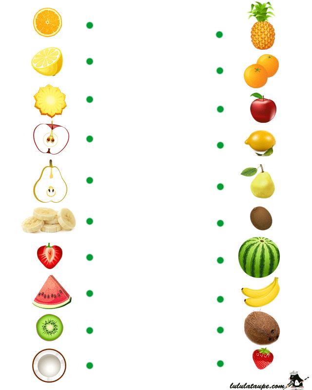 Jeu éducatif ? imprimer, les fruits